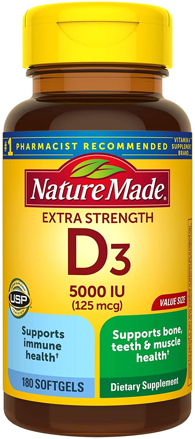 Extra Strength Vitamin D3 5000 IU (125 mcg) 180 Softgels Value Size High Potency Vitamin D Helps Support Immune Health Strong Bones and Teeth & Muscle Function